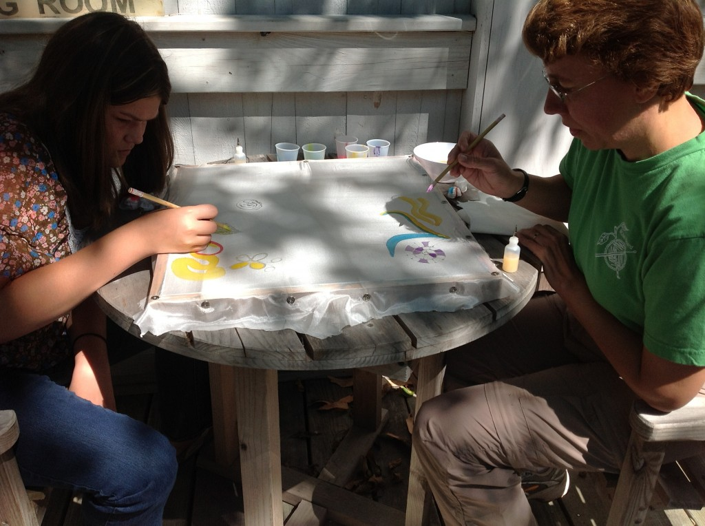Silk painting on the deck at today's workshop.