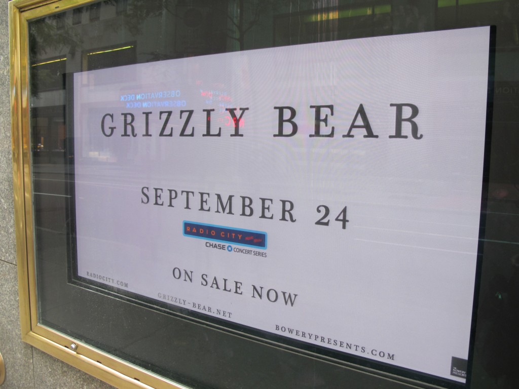 Also while still in New York, I saw that Grizzly Bear would be performing at Radio City, across the street from my office. My favorite name of the week, even if its origin has nothing to do with bears. A founding member of the Brooklyn-based indie rock group chose that moniker because it was an ex-boyfriend's nickname.
