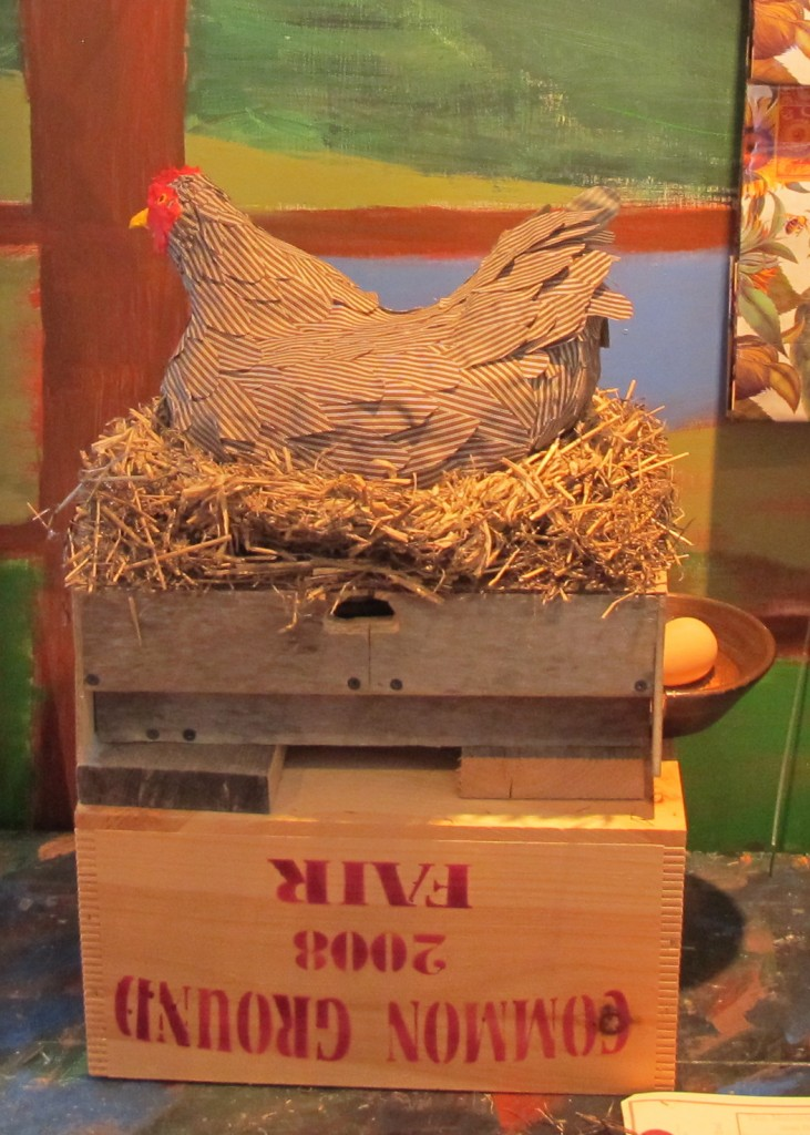 Our new egg-laying chicken, which clucks when it plunks an egg into the dish.