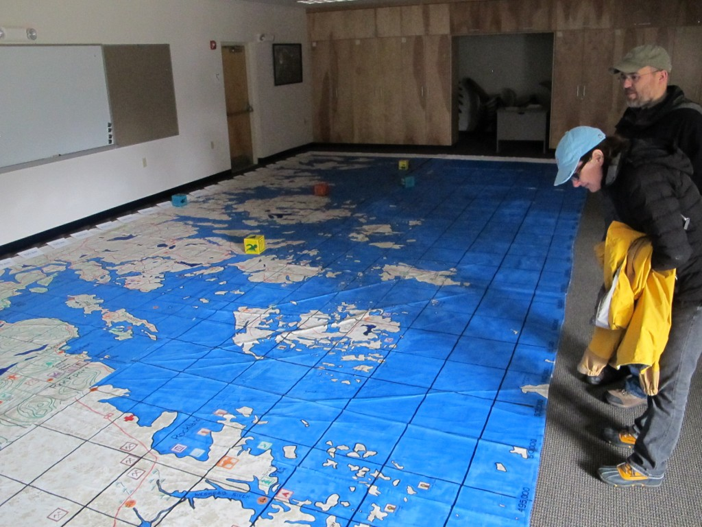 One building at SERC has this giant map of the coast of Maine covering the floor. It offers hands-on learning and toes-on learning at the same time.