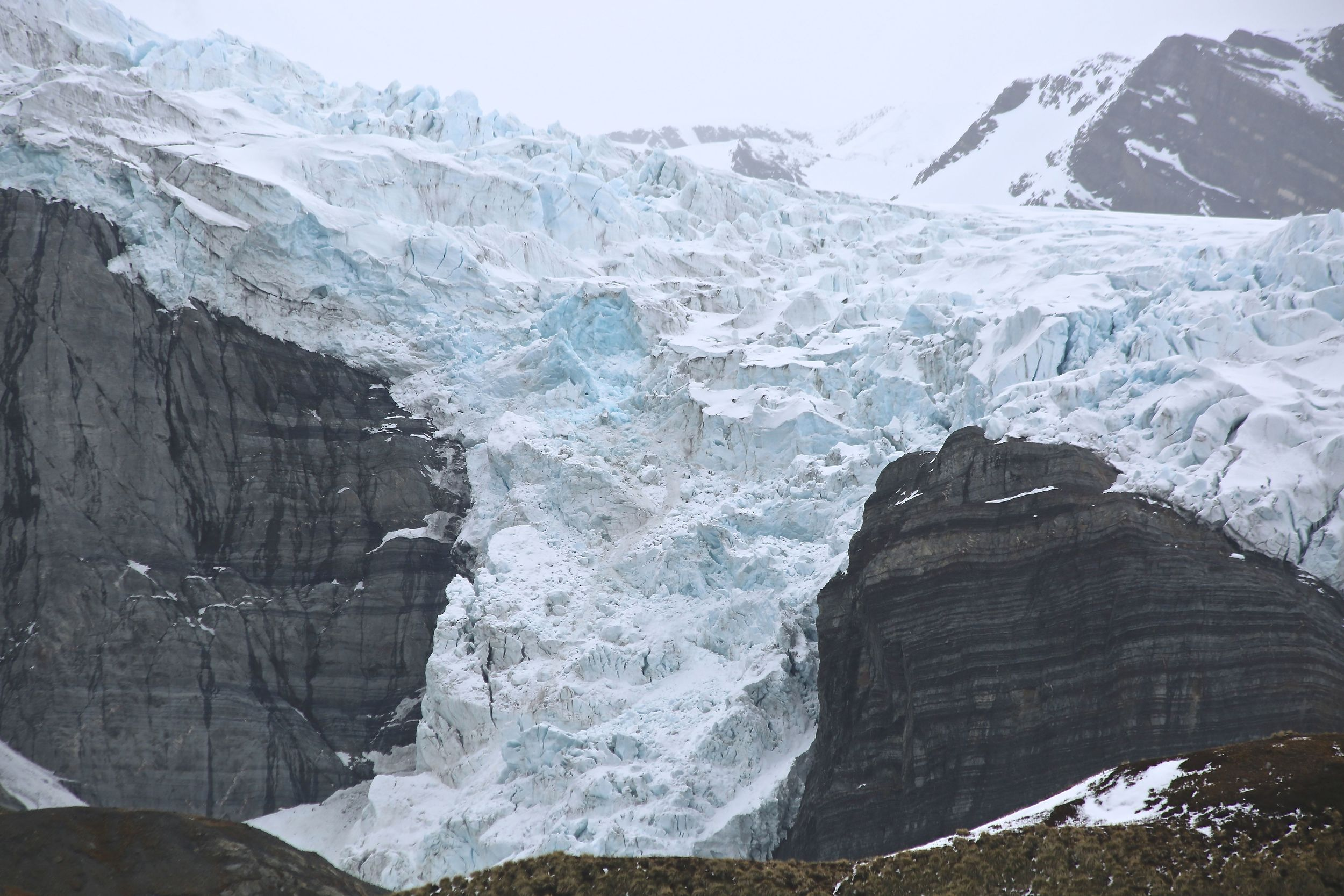 Here's a closer look at the awesome mass of ice and snow and its hint of glowing blue. The well-defined rock strata bespeak South Georgia Island's deep geologic history.