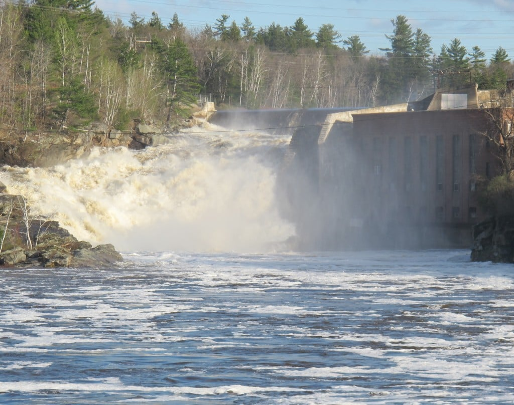 On our drive home, we passed through Rumford, Maine, where the falls were roaring after a day of heavy rain.