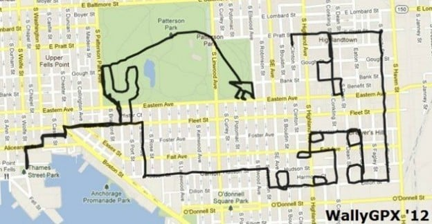 Artist Michael Wallace created this image (meant to represent a scene in the Angry Birds video game) by using the tracking feature on his GPS device. Wallace drew this image by traveling a pre-planned route through the streets of Baltimore while carrying his GPS, which traced his path onto a map.