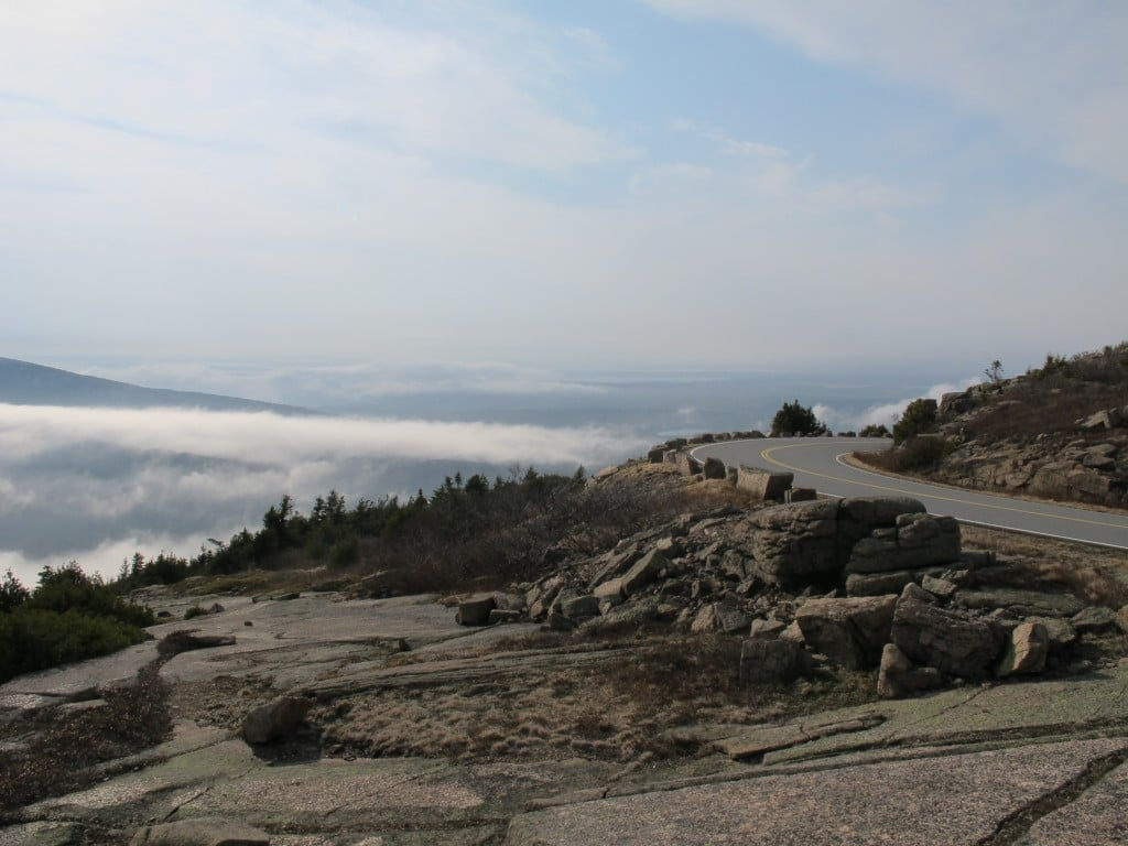 We quickly found ourselves above the banks of fog that had formed on an unusually warm April day.