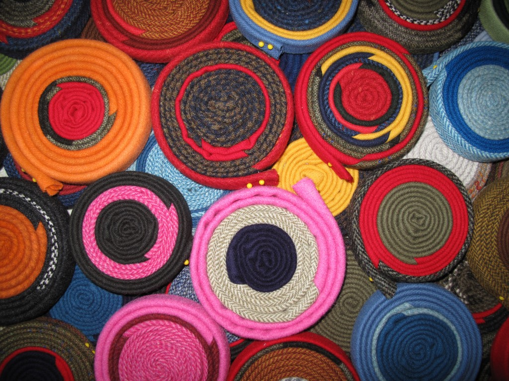 Some of our rug coils that the ocean-front tearing (plus a lot of cutting, sewing and ironing) produced.
