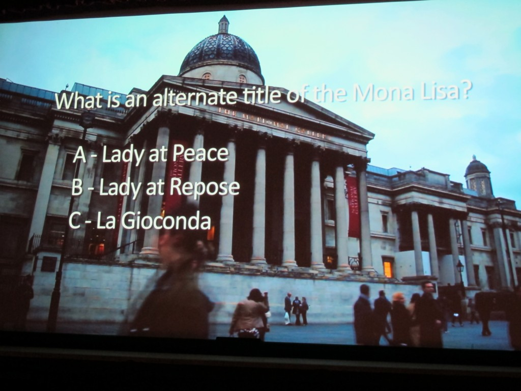 The building in the background of these questions is the National Gallery in London, which hosted the da Vinci exhibition.