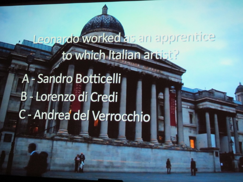 The full name of the exhibition in London was Leonardo da Vinci: Painter at the Court of Milan.