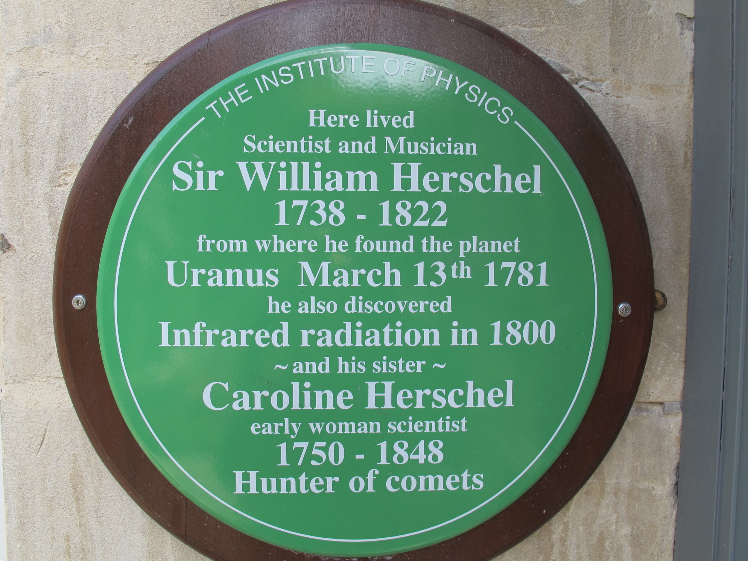 We visited the former home of William and Caroline Herschel in Bath and stood on the spot (in a raised backyard garden) from which William—the greatest astronomer most Americans have never heard of—looking through his homemade, 7-foot-long wooden telescope, discovered Uranus. He called it the Georgian planet, after King George III, but other European star-gazers won the battle to officially christen it, and named it after the father of Saturn and grandfather of Jupiter in Roman mythology. Herschel later used a piece of crystal glass from a chandelier in the house to split the sun's rays and discover infrared light.