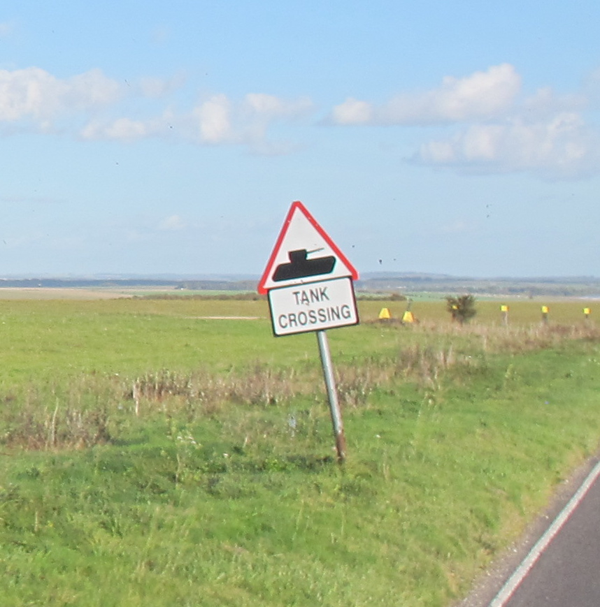 Unexpected sign on the road to Stonehenge.