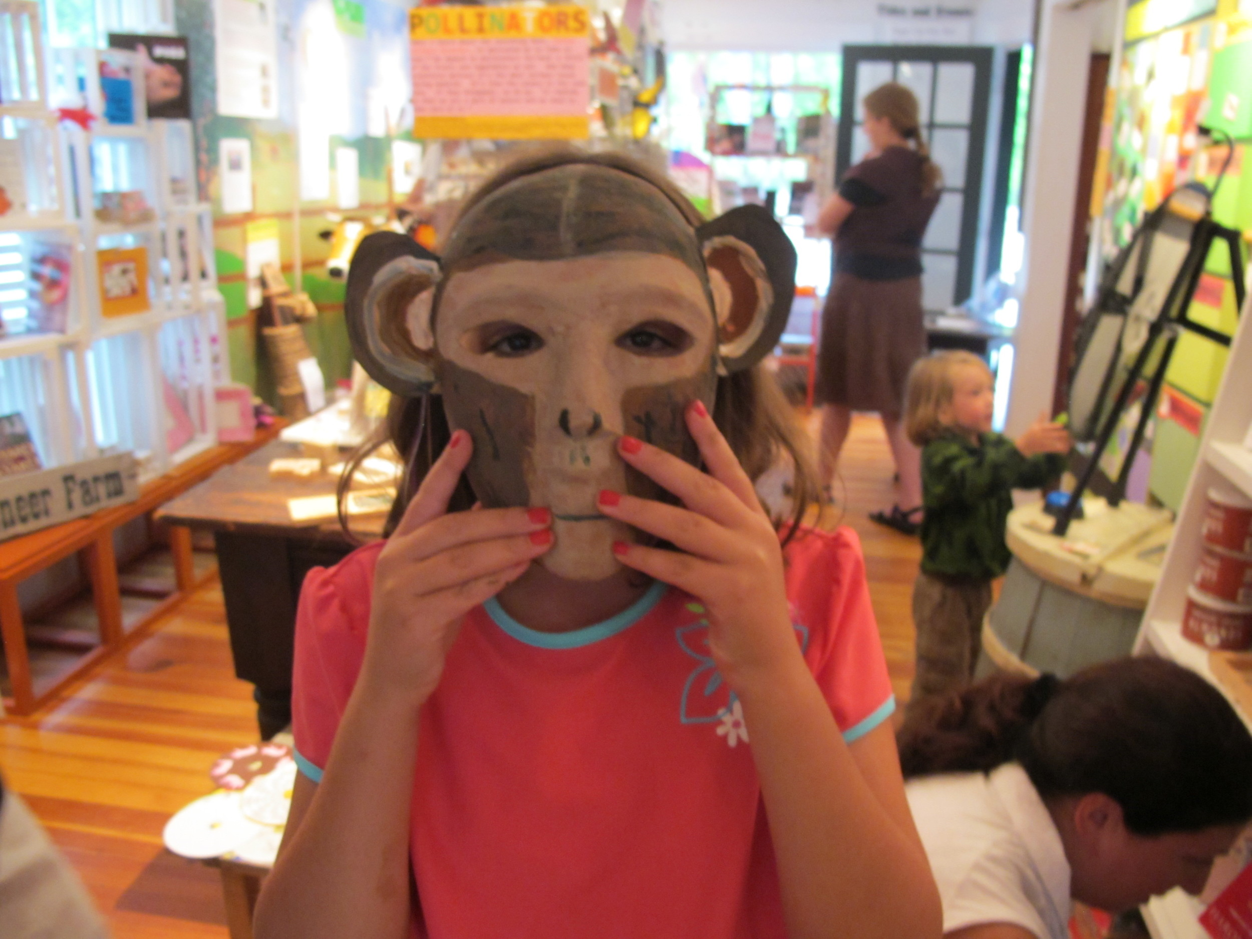 Kids who took part in our Jane Goodall Day activities at the Notebook painted chimp masks, created shadow puppets and celebrated the life of the great naturalist.