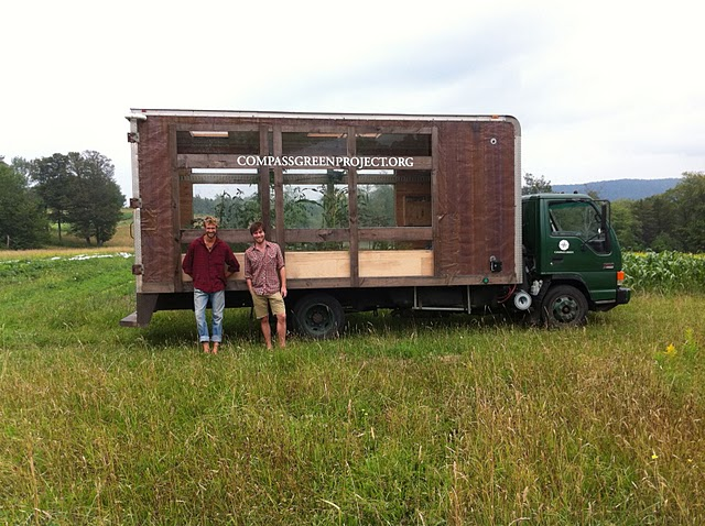 Justin and Nick with their waste-vegetable-oil-powered educational greenhouse on wheels.
