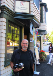 Here's Rocco outside the Notebook last year with his homemade 3-D camera, which never fails to attract crowds when he's hiking with it in Acadia National Park.