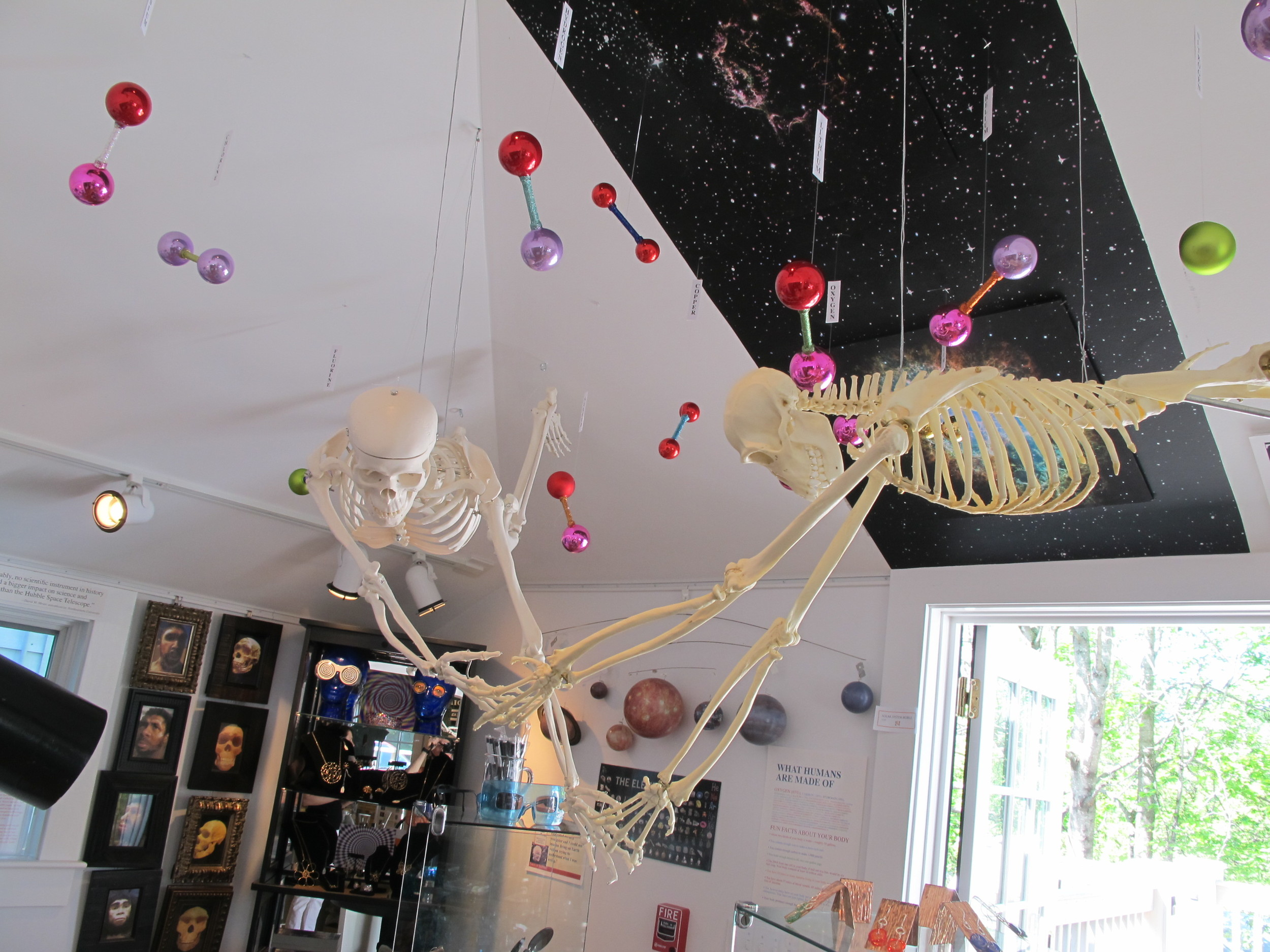 Things are flying in our astronomy room, which includes our own Hubble telescope (or perhaps I should say telly-scope) and a look at the creation in outer space of the chemical elements that make up our bodies.