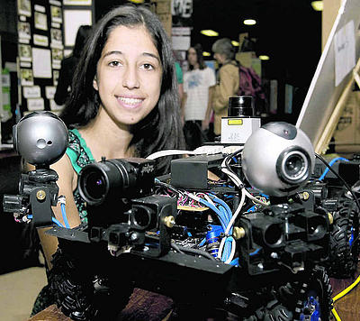 Jessica Richieri designed and built this to win several awards at the prestigious Intel science fair (photograph by Rodrigo Pena for the Press-Enterprise).