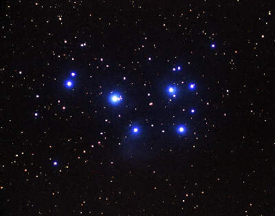 The Pleiades. Usually 6 to 8 stars are easily visible. The ancient Greeks referred to them as the Seven Sisters.