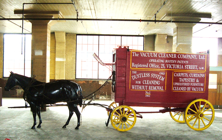Here is one of those horse-drawn vacuum cleaners, on exhibit at Don Aslett's Cleaning Museum in Pocatello, Idaho. The vacuum was parked on he street; it cleaned buildings with vacuum hoses.