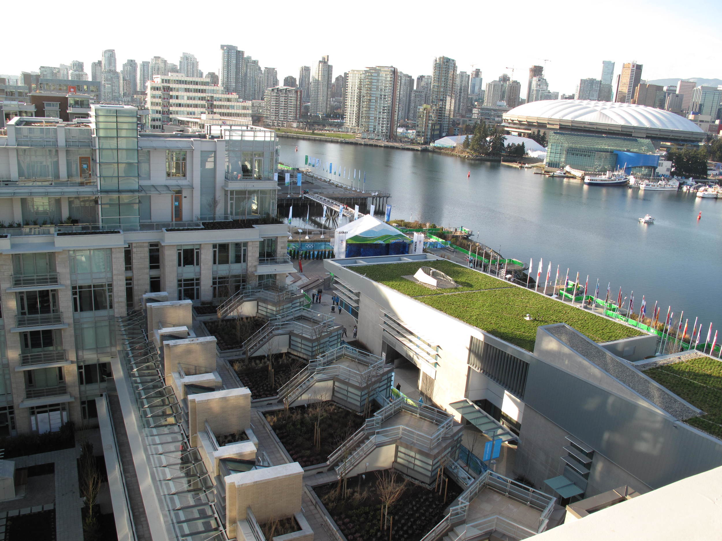 The athletes' village (with eco-designed green roof) is now an under-occupied condo complex.