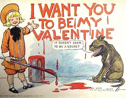 On this holiday, even a dog can read the writing on the wall. Buster Brown and his pooch, Tige—the first talking canine in American comics—were created by Richard Outcault, the same artist who drew the Yellow Kid, after whom yellow journalism was named (see earlier post).