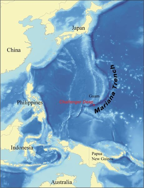 Map showing the Mariana Trench