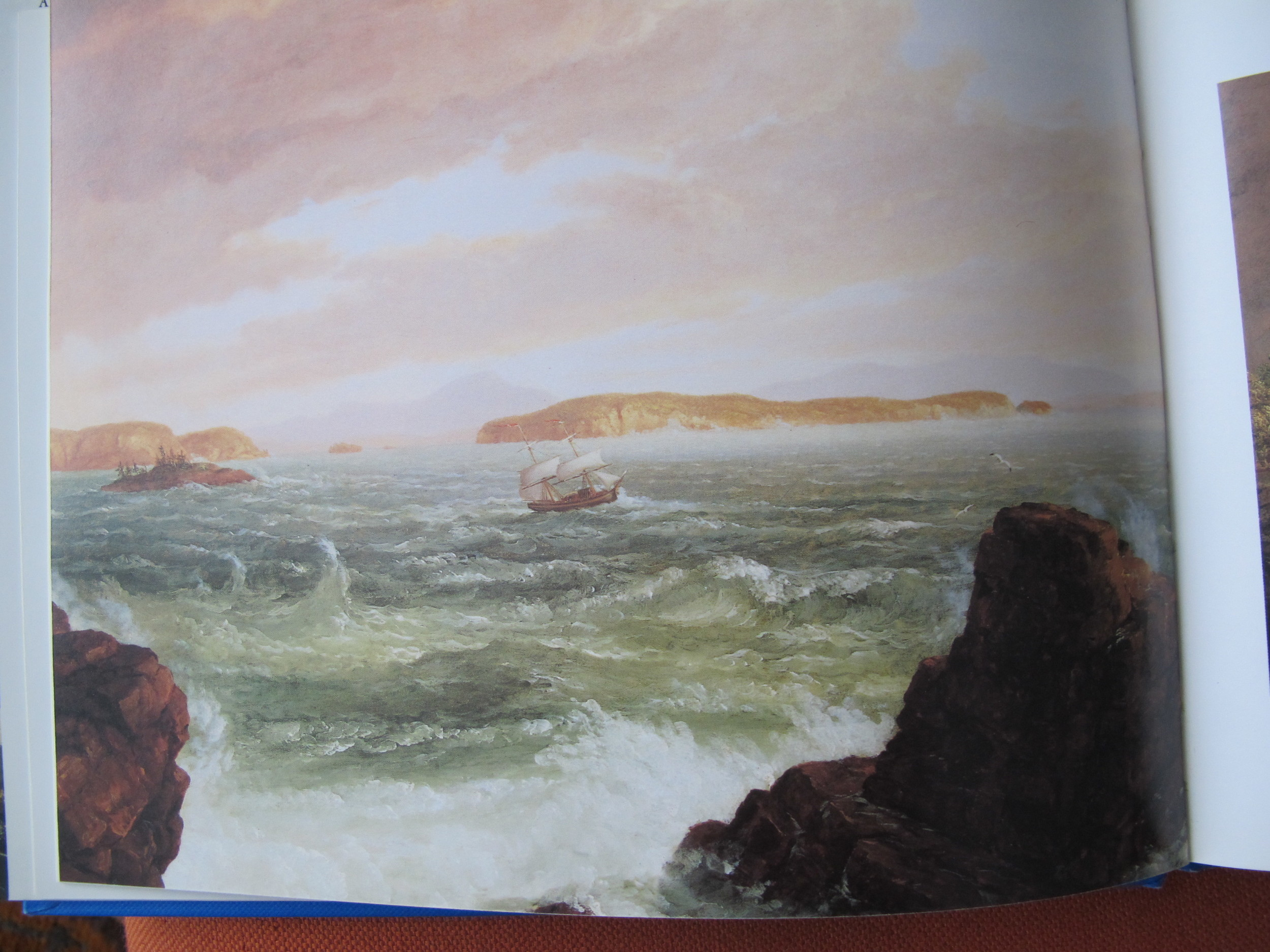 Thomas Cole's oil painting called View Across Frenchman's Bay From Mt. Desert Island After a Squall, from 1845