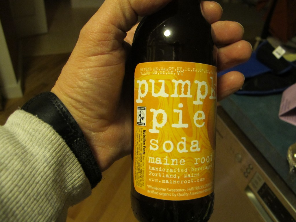 Yes, this really is pumpkin-pie soda. It's a Maine product, and we plan to try it with our, um, roast turkey.