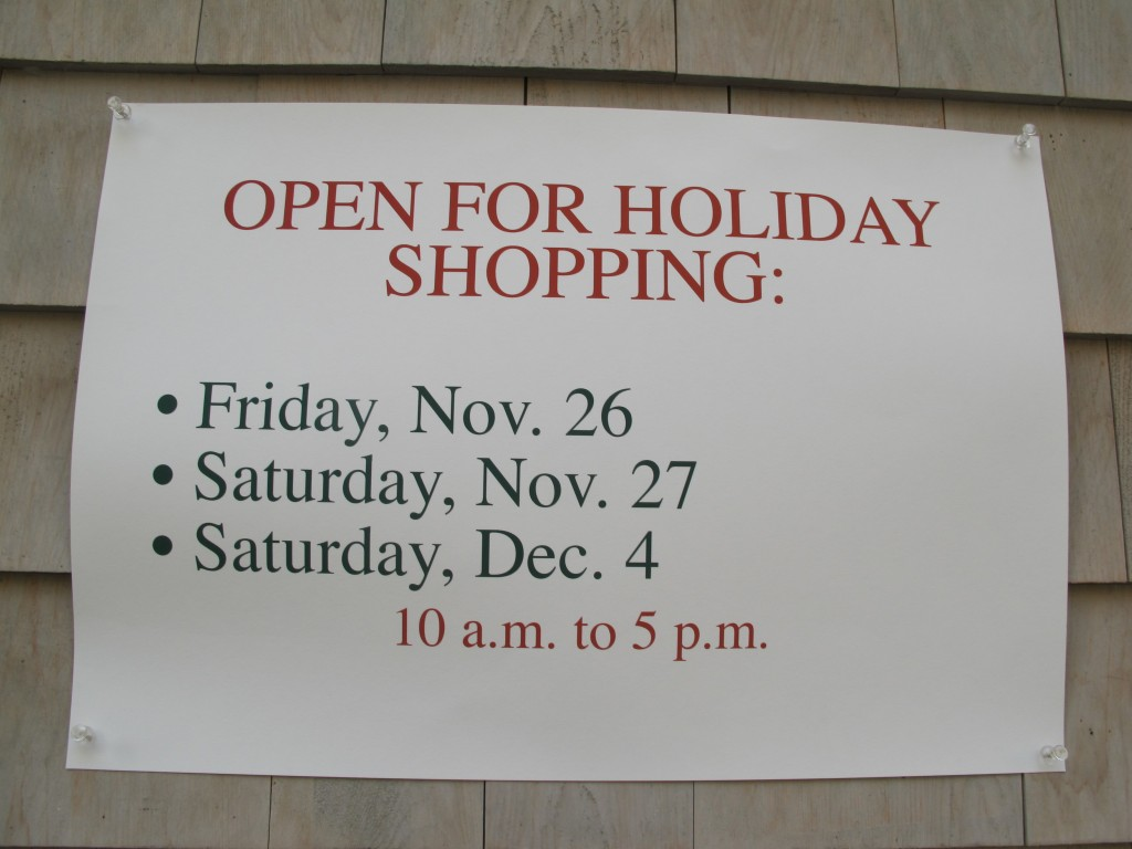 We could be open a few other days in December, but here's our current plan.