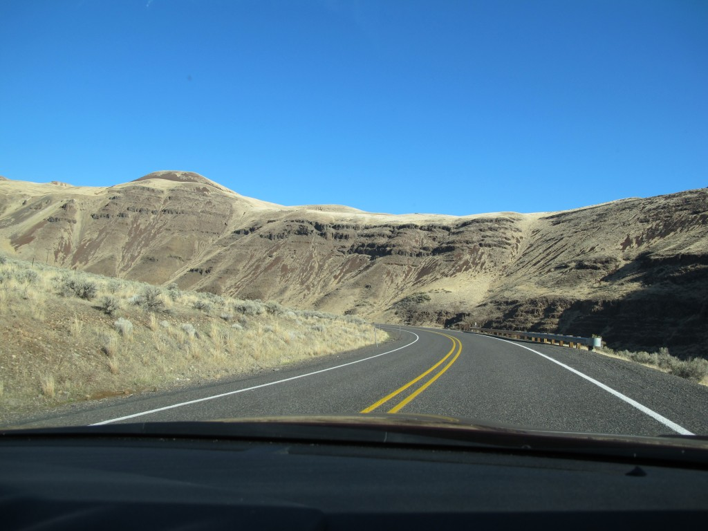 The mountains we drove past showed relatively little vegetation, a reminder of how dry this part of Oregon is.