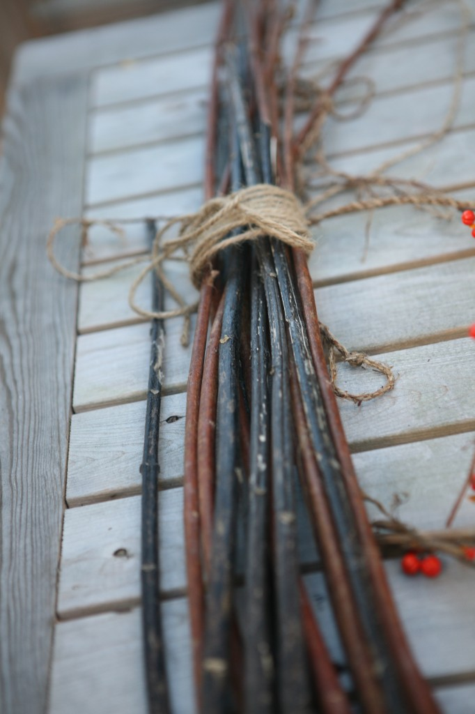 This is what the milkweed stalks looked like before we removed the inner fiber and turned it into the sort of twine you see wrapped around this bundle.