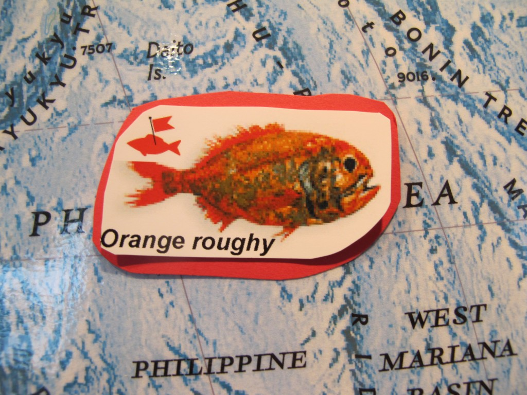 On our oceans map at the Notebook, we show more than more than three dozen types of seafood, color-coded using the Blue Ocean Institute's sustainability ratings. The red means don't eat it because of either depleted fish population or damaging fishing methods used to catch it; the red flag means the fish also contains high levels of toxins.