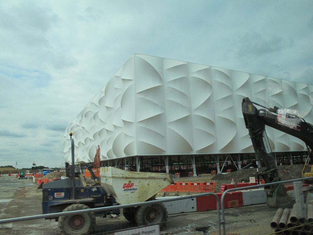 The basketball arena is a beautiful but temporary structure with a fabric covering.