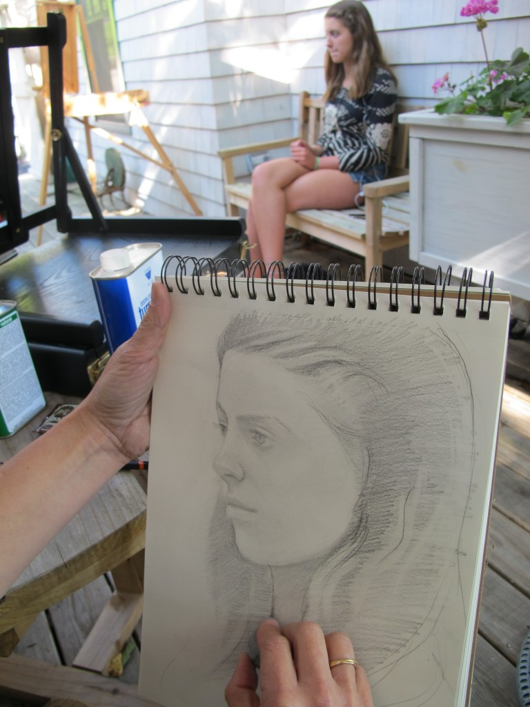 Back at the Notebook, Kathy Coe has been giving art workshops for kids twice a day and offering portrait and oil-painting lessons on weekends; here she is working on a drawing of daughter Anthea. This coming weekend artist Kathi Smith will run a two-day en plein air drawing-with-ink workshop.