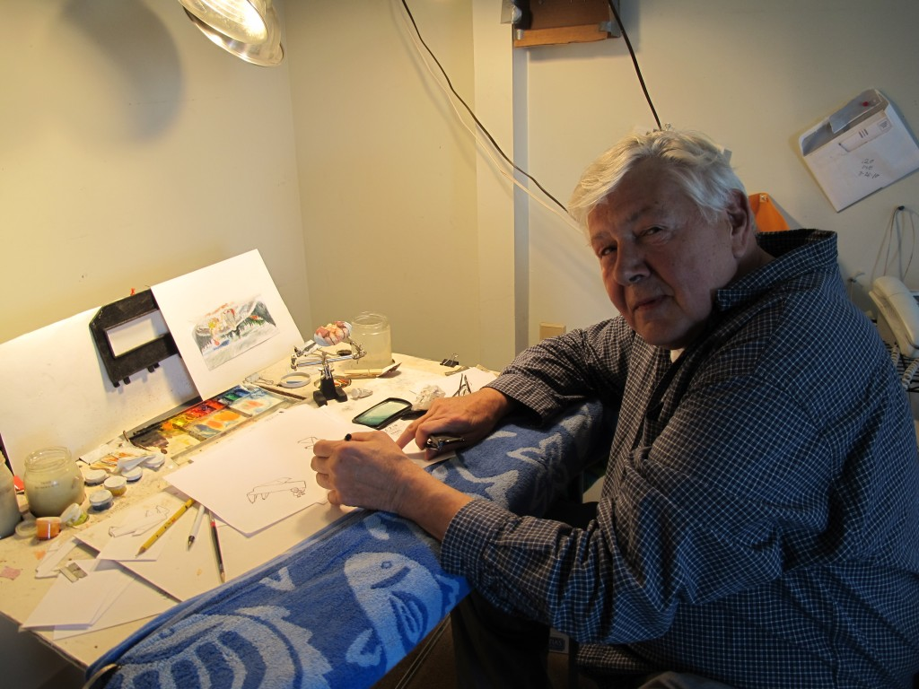 Bill working on a cartoon at his studio in Portland.