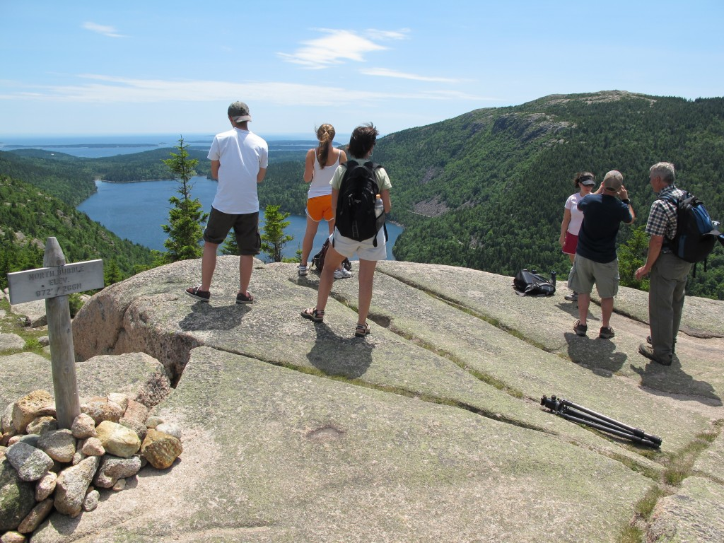 The view from the North Bubble out over Jordan Pond to the Atlantic Ocean.