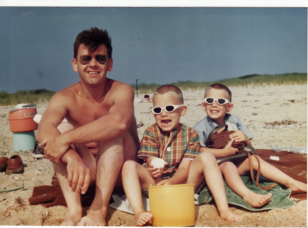 From left: Dad, Brian and I on Cape Cod, sometime in the 1960s