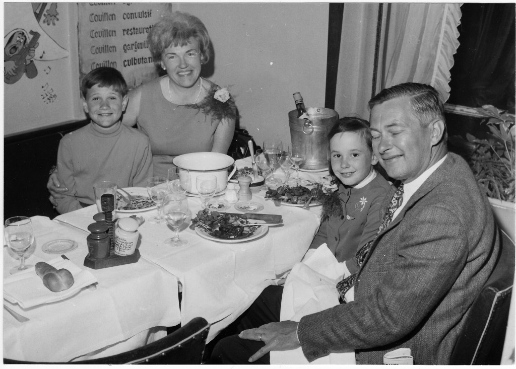 From left: Pamelia's brother, Scott; her mom, Pam; Pamelia; and her dad, Bill, at Au Mouton de Panurge restaurant in Paris in the 1960s.