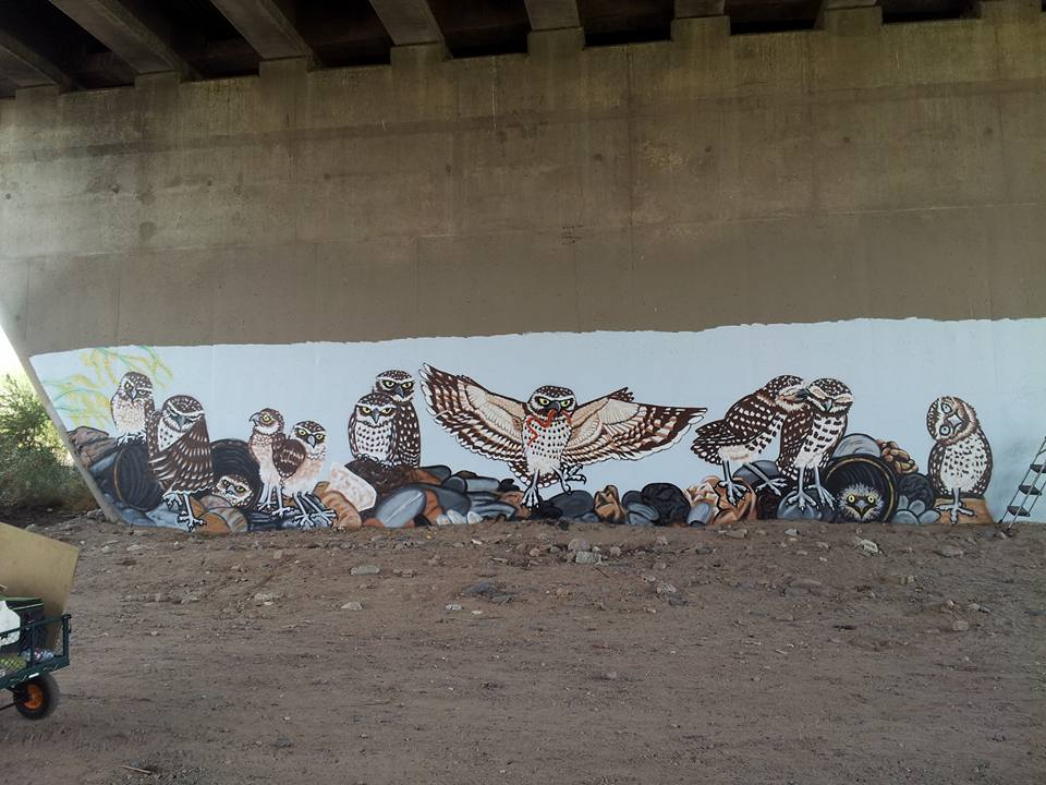 A tiny piece of Teresa Dendy's Phoenix mural of burrowing owls.