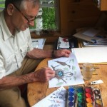 Bernd Heinrich at work in his Maine cabin on an illustration for one of his books.