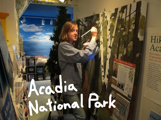 Artist and horticulturalist Amy Gagnon paints a beautiful Acadia trail loaded with visual insights into the diverse nature of the park. In the background is part of Jordan Chalfant's stunning installation on Acadia's rocky coast.