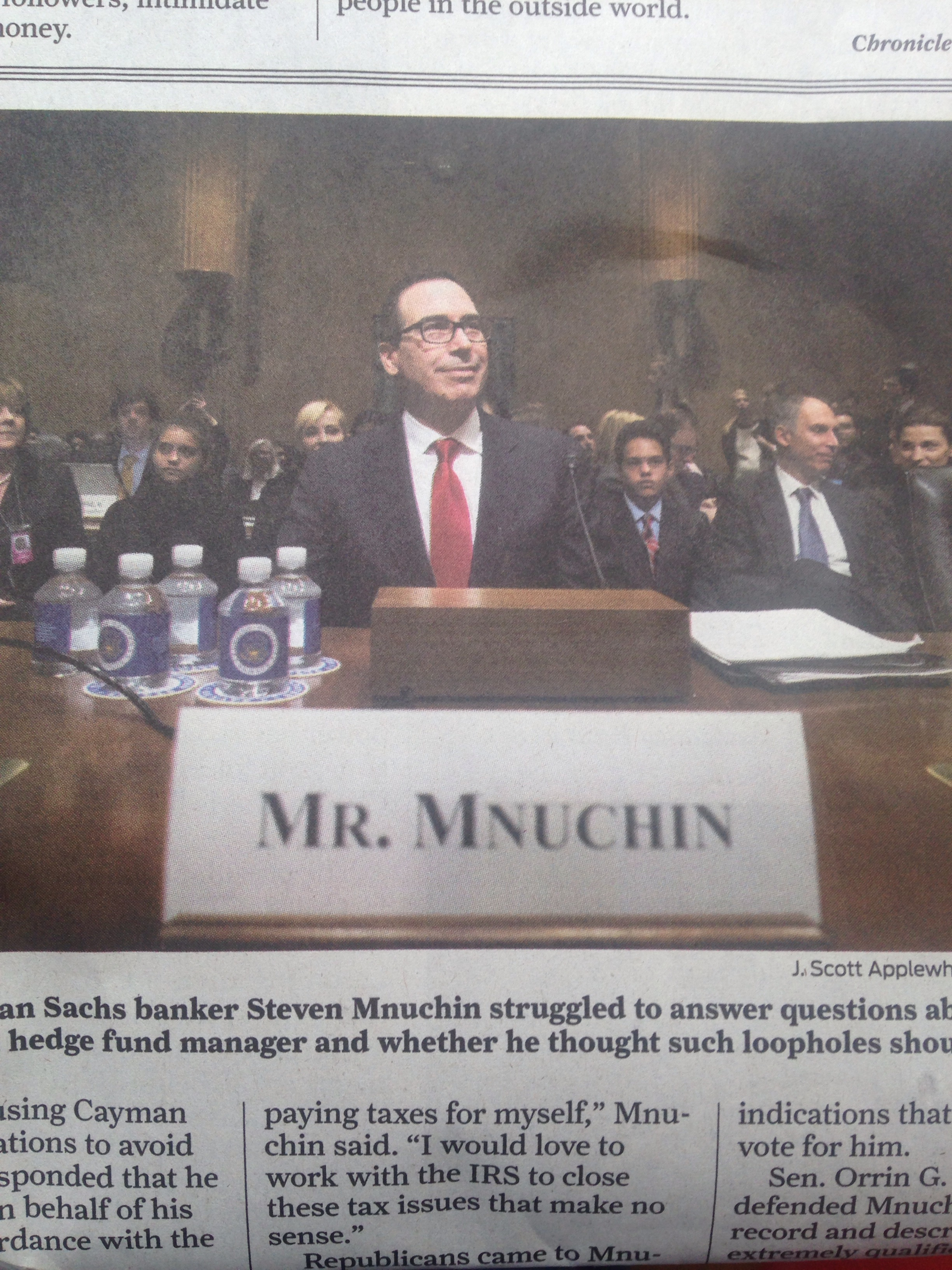Steven Mnuchin, former Goldman Sachs partner and hedge fund manager, nominee for Treasury Secretary of the United States, January 19, 2017.