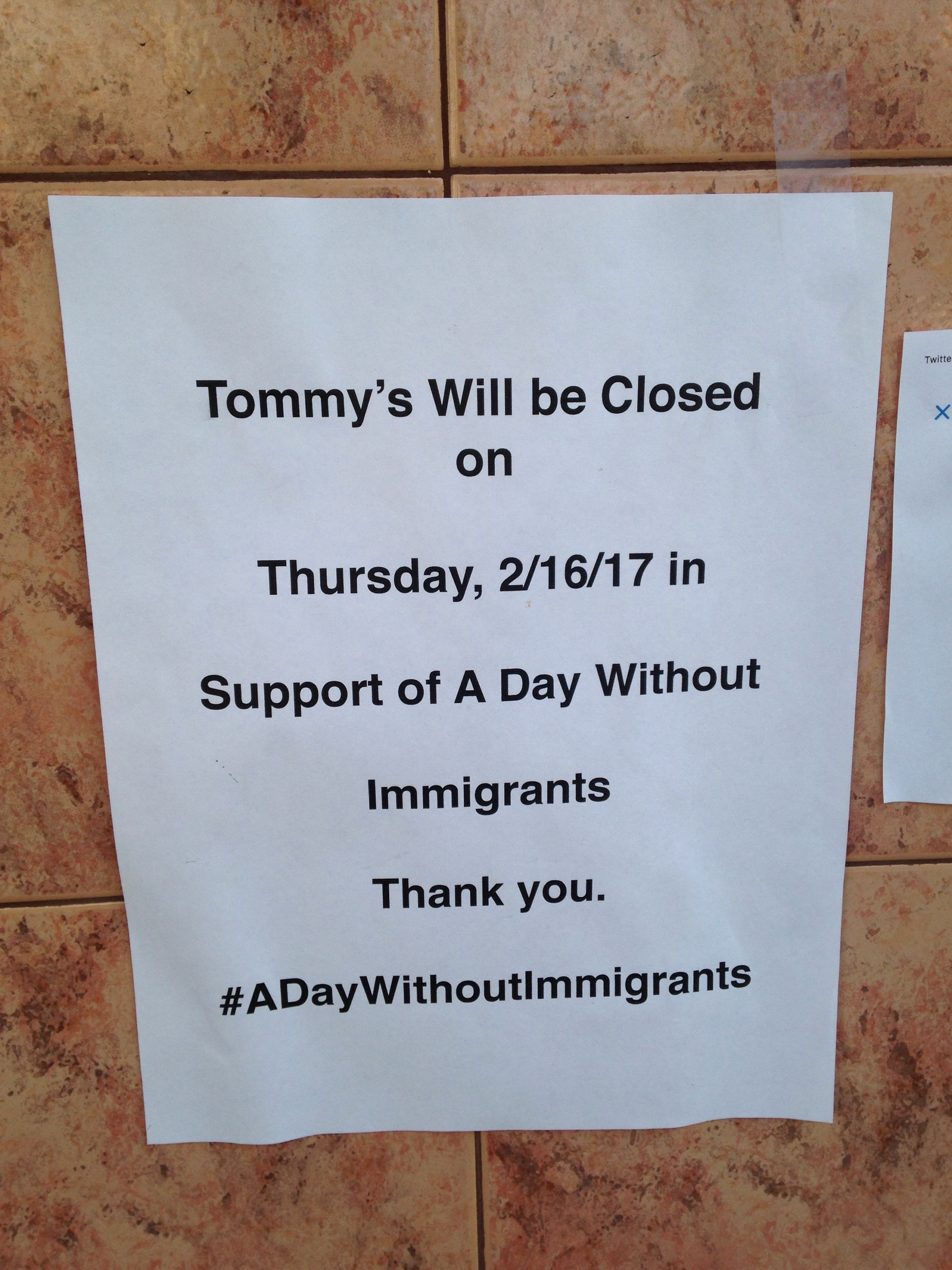 Sign at Tommy's, a restaurant on Geary Boulevard, San Francisco, February 16, 2017.