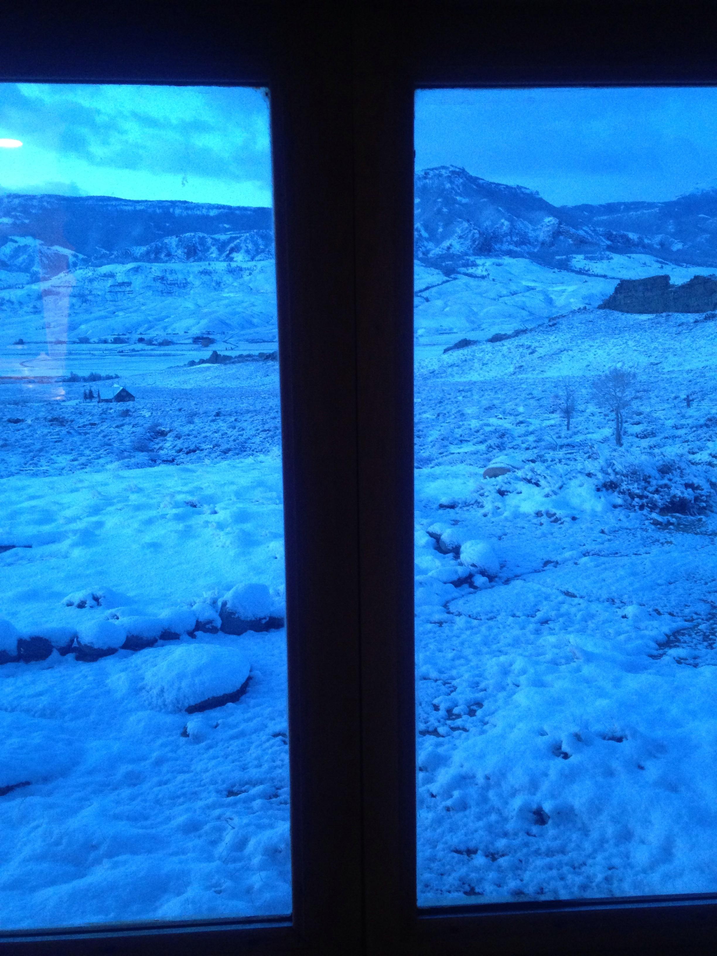 View from cabin at dawn, Wapiti, Wyoming, April 3, 2017.