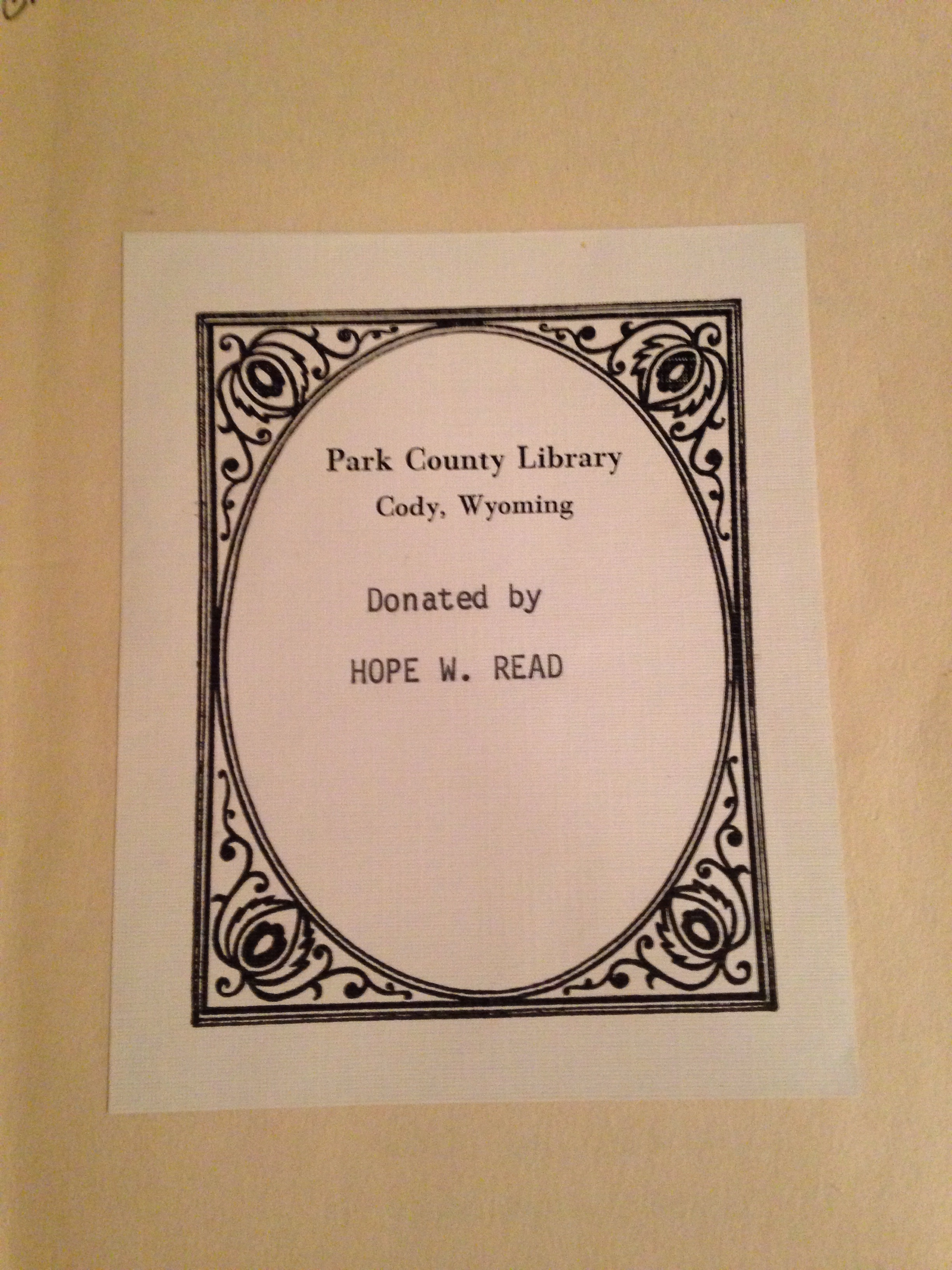 "Bookplate for ""The Postman Always Rings Twice"" by James M. Cain, Knopf, 1934, First Edition, in the collection of The Park County Public Library, Cody, Wyoming."