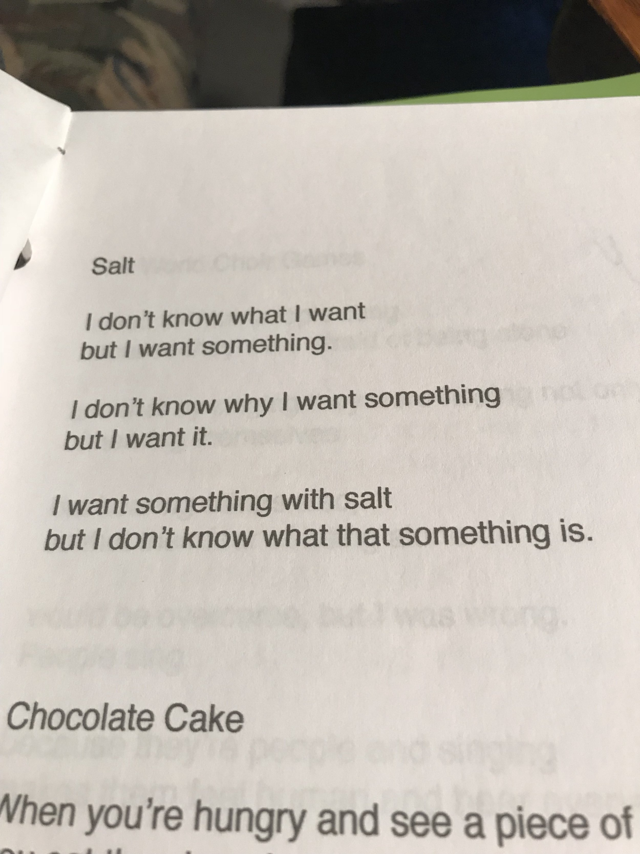 """'Salt', poem from forthcoming book, """"In Order to Hear a Bare Sound"""", manuscript, author's personal collection, August 6, 2018."""
