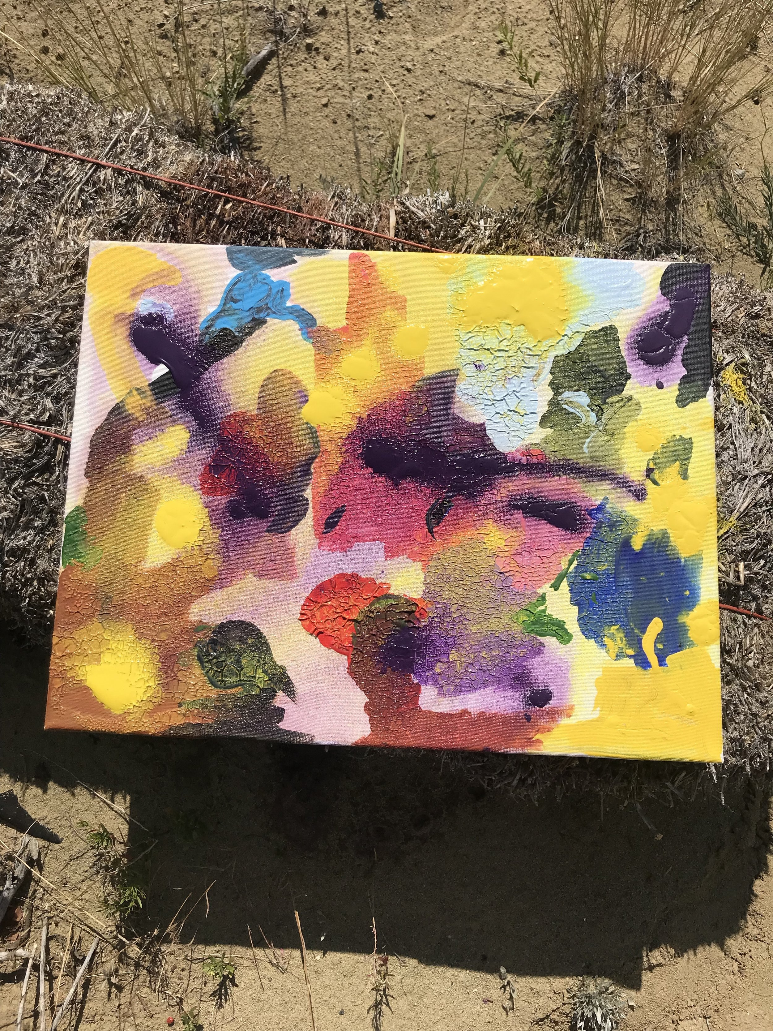 "Painting, ""Solar Palette"", 2018, (acrylic on canvas) as exhibited on the Wyoming property of the artist. All rights reserved."