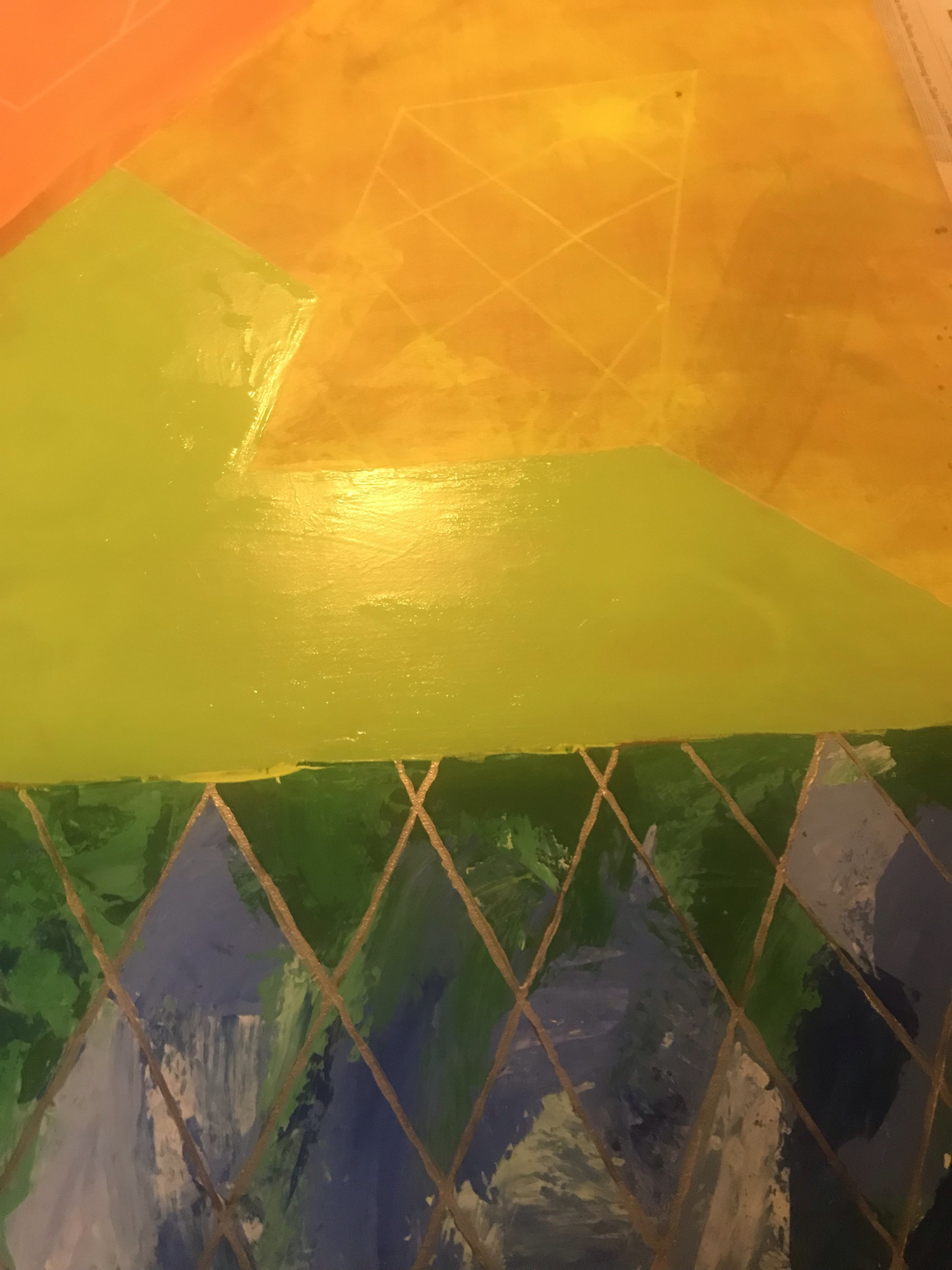 """Detail, unfinished painting, """"Stained Glass Stairs"""". Photo by author, November 29, 2018."""