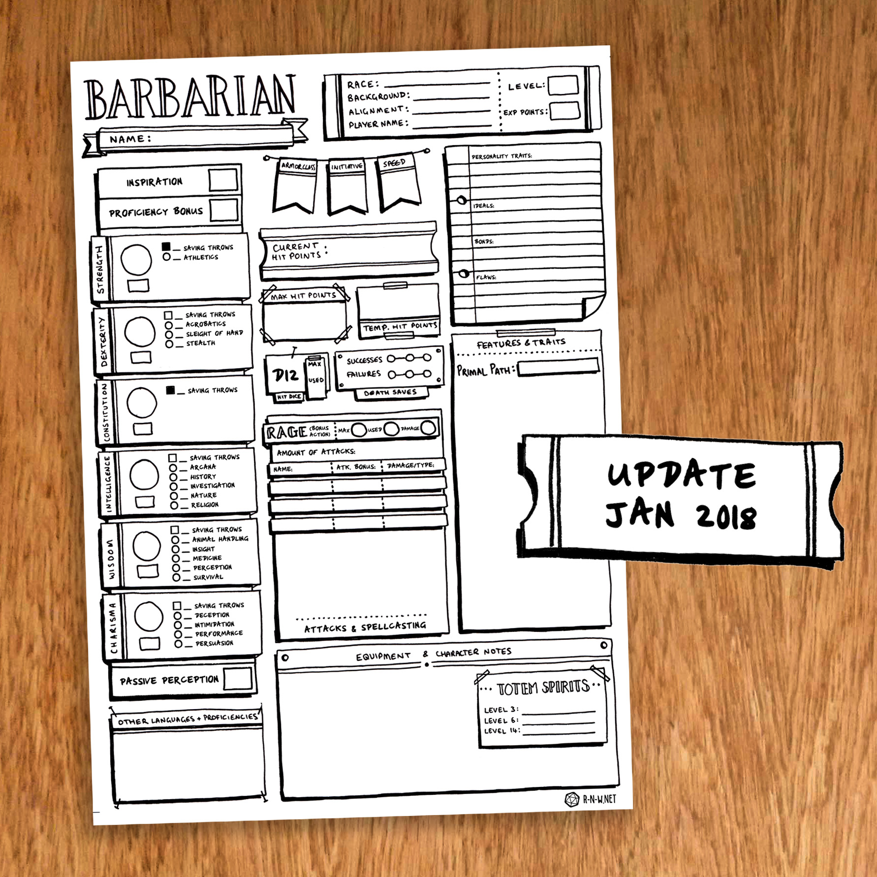 barbarian character sheet barbarian - individual character sheet pack - classic style — r-n-w