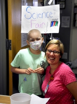 Hospital Science Fair with Leah. Check out this  video  that the UNC made about her project!