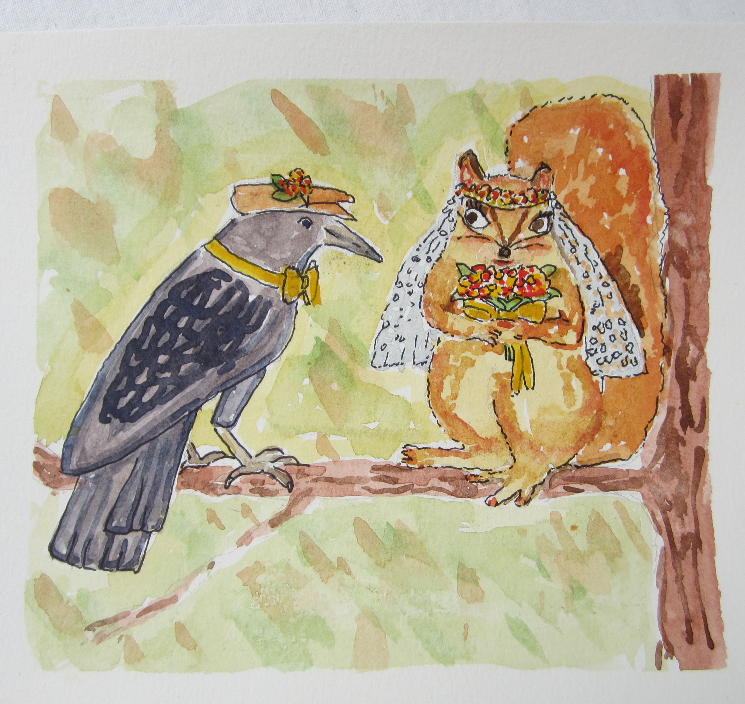 A Squirrel, A Raven, A Crisp Yellow Bow