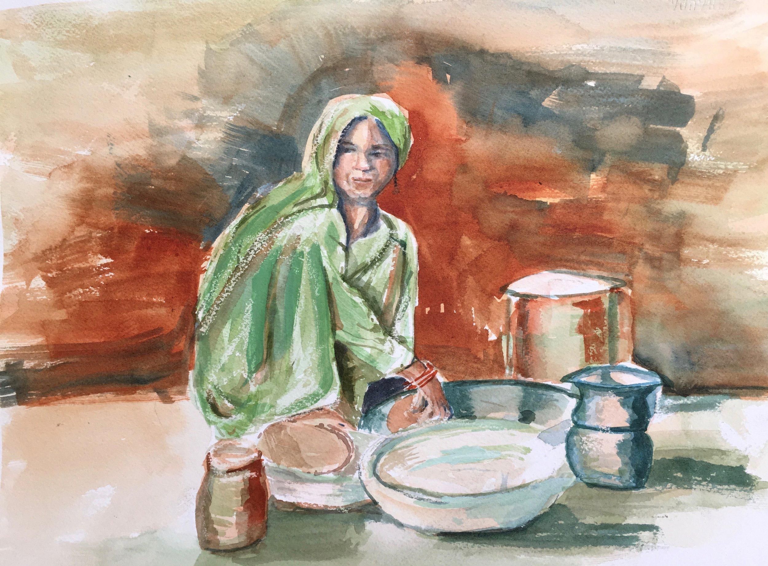 "Sumati's Chapatis, Jaipur, India  11""x15"""