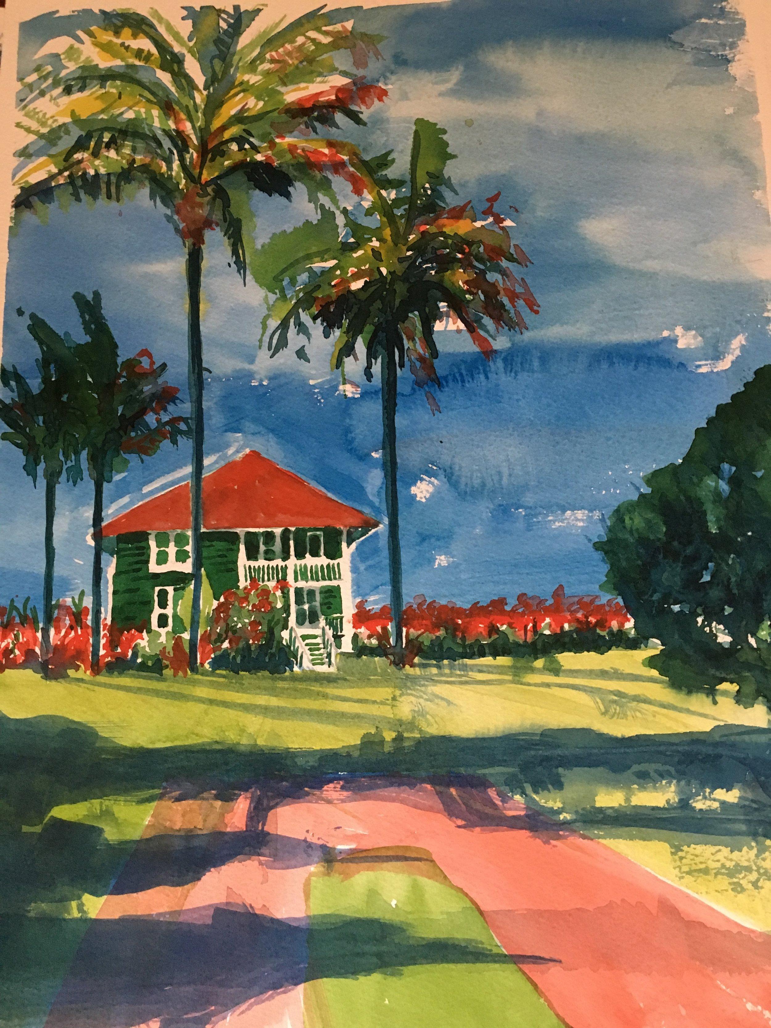 """Dreams of Hanalei Bay,   Big Island .  11""""x15"""""""